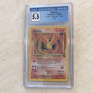 Moltres Pokémon 12/62 Holo Fossil 1999 CGC 5.5